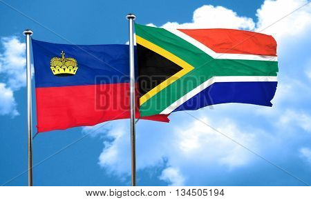 Liechtenstein flag with South Africa flag, 3D rendering