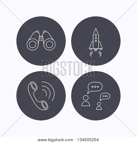 Phone call, chat speech bubble and binoculars icons. Rocket linear sign. Flat icons in circle buttons on white background. Vector