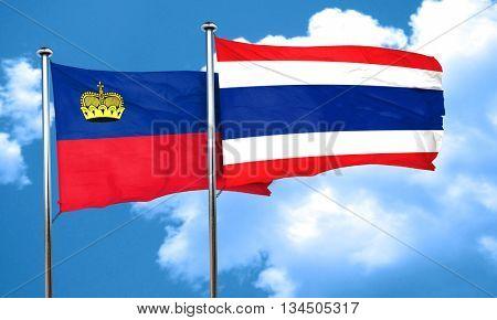 Liechtenstein flag with Thailand flag, 3D rendering