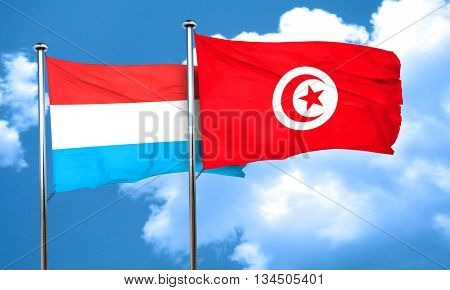 Luxembourg flag with Tunisia flag, 3D rendering