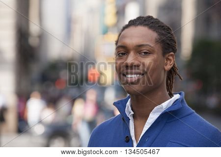 Portrait of pedestrian in city