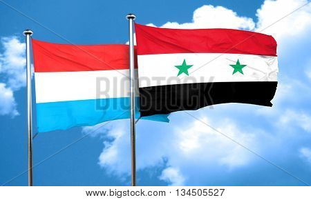 Luxembourg flag with Syria flag, 3D rendering