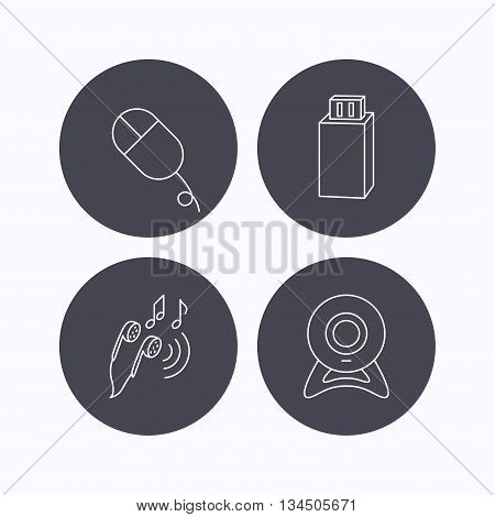 Web camera, USB flash and PC mouse icons. Headphones linear sign. Flat icons in circle buttons on white background. Vector