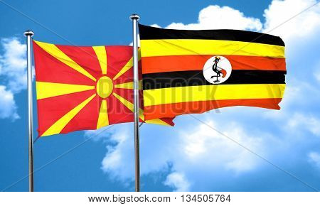 Macedonia flag with Uganda flag, 3D rendering