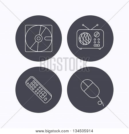 Hard disk, radio and TV remote icons. PC mouse linear sign. Flat icons in circle buttons on white background. Vector