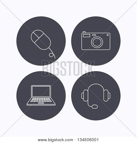 Photo camera, headphones and notebook laptop icons. PC mouse linear sign. Flat icons in circle buttons on white background. Vector