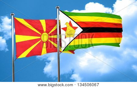 Macedonia flag with Zimbabwe flag, 3D rendering