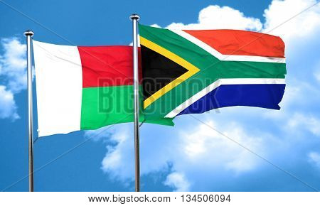 Madagascar flag with South Africa flag, 3D rendering