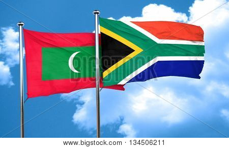 Maldives flag with South Africa flag, 3D rendering
