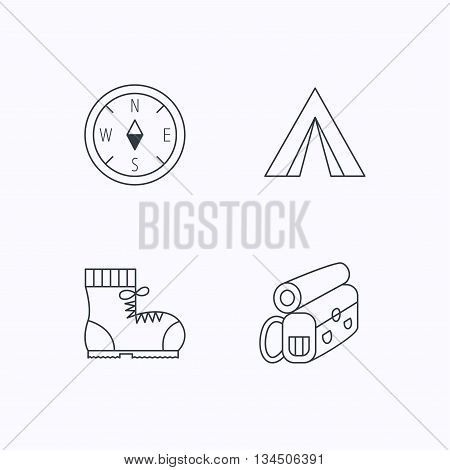 Backpack, camping tend and hiking boots icons. Compass linear sign. Flat linear icons on white background. Vector