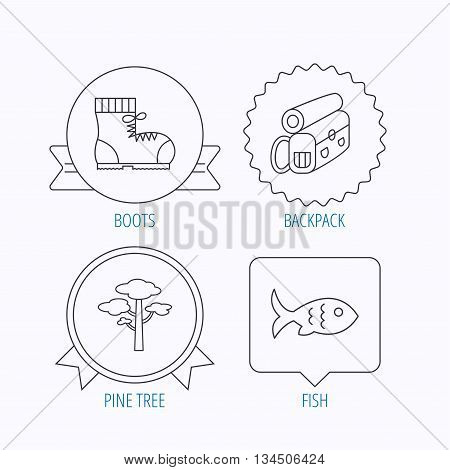 Pine tree, fish and hiking boots icons. Bonfire linear sign. Award medal, star label and speech bubble designs. Vector