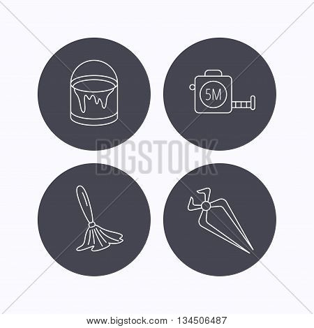 Tape measure, bucket of paint and paint brush icons. Nippers linear sign. Flat icons in circle buttons on white background. Vector