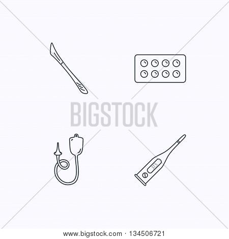 Electronic thermometer, tablets and scalpel icons. Enema linear sign. Flat linear icons on white background. Vector