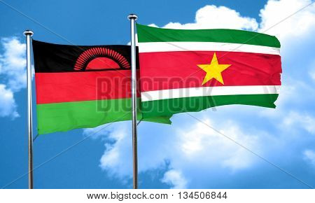 Malawi flag with Suriname flag, 3D rendering