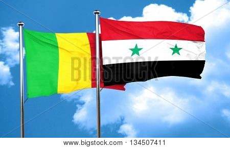 Mali flag with Syria flag, 3D rendering