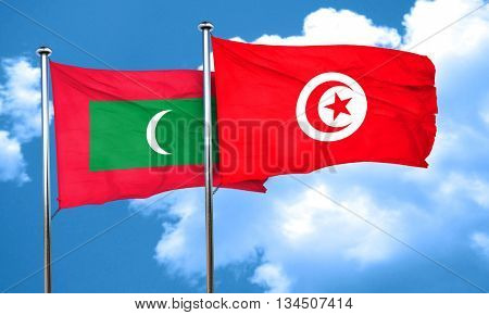 Maldives flag with Tunisia flag, 3D rendering