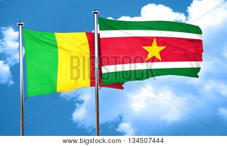 Mali flag with Suriname flag, 3D rendering