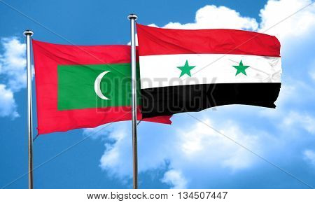 Maldives flag with Syria flag, 3D rendering