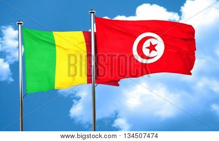 Mali flag with Tunisia flag, 3D rendering