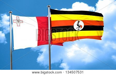 Malta flag with Uganda flag, 3D rendering