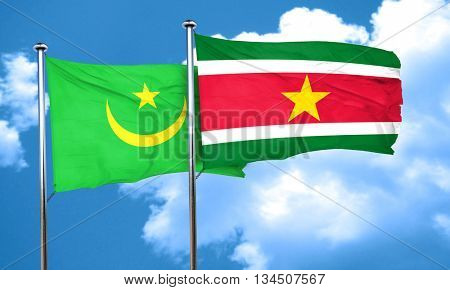 Mauritania flag with Suriname flag, 3D rendering