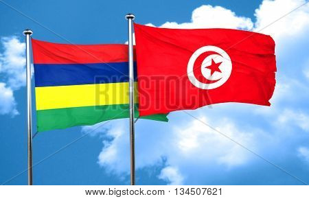 Mauritius flag with Tunisia flag, 3D rendering