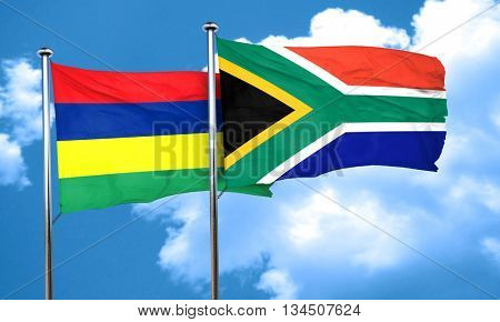 Mauritius flag with South Africa flag, 3D rendering