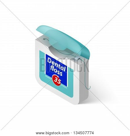 Illustration Showing in a Dental Floss on White