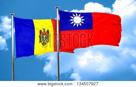 Moldova flag with Taiwan flag, 3D rendering