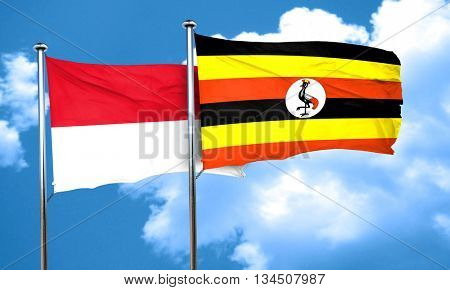 monaco flag with Uganda flag, 3D rendering