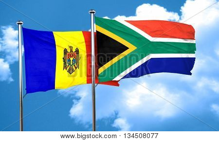 Moldova flag with South Africa flag, 3D rendering