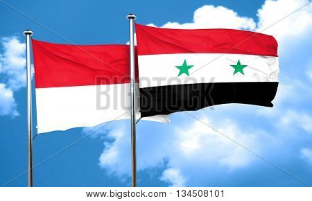 monaco flag with Syria flag, 3D rendering