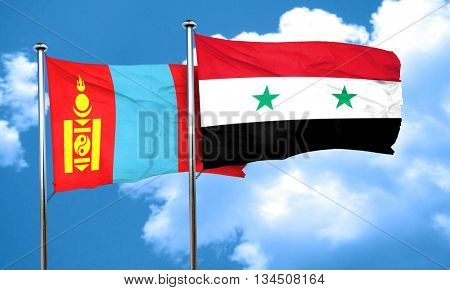 Mongolia flag with Syria flag, 3D rendering
