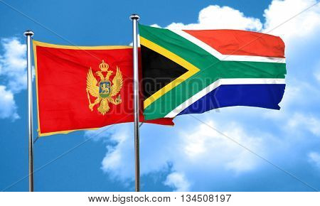 Montenegro flag with South Africa flag, 3D rendering