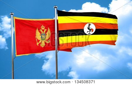 Montenegro flag with Uganda flag, 3D rendering