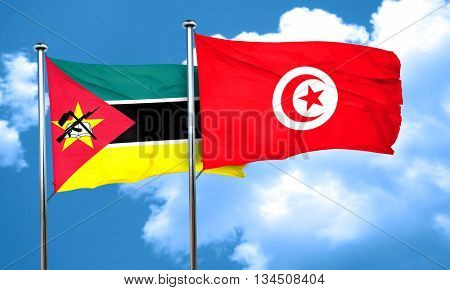 Mozambique flag with Tunisia flag, 3D rendering
