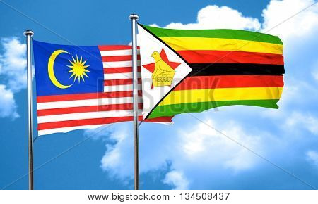 Malaysia flag with Zimbabwe flag, 3D rendering