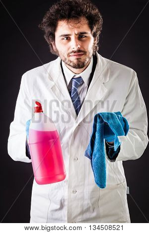 Researcher With Cleaning Gear