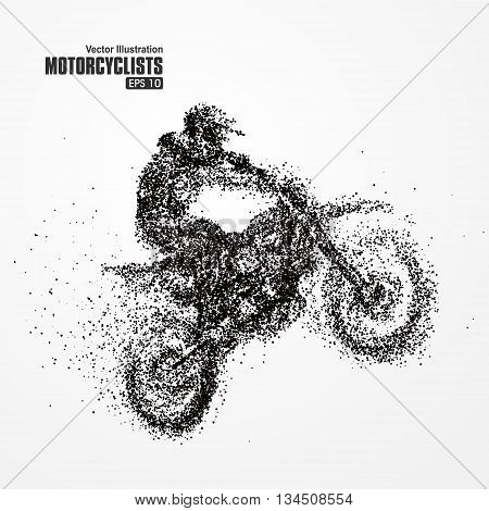 Particles biker full of enterprising across significance, vector illustration.