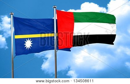 Nauru flag with UAE flag, 3D rendering