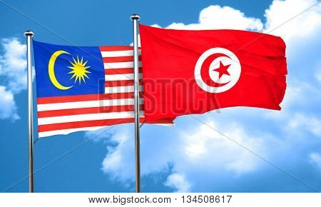 Malaysia flag with Tunisia flag, 3D rendering