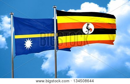 Nauru flag with Uganda flag, 3D rendering