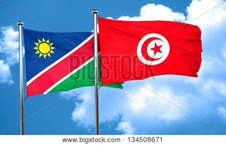 Namibia flag with Tunisia flag, 3D rendering