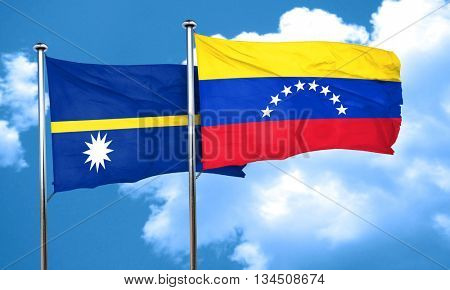Nauru flag with Venezuela flag, 3D rendering