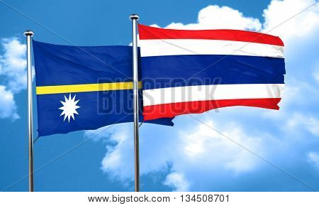 Nauru flag with Thailand flag, 3D rendering
