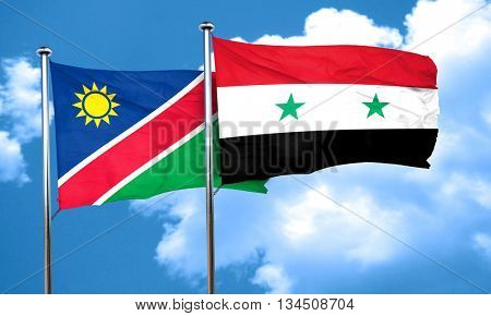 Namibia flag with Syria flag, 3D rendering