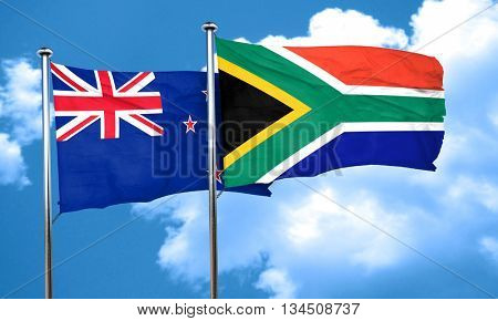 New zealand flag with South Africa flag, 3D rendering