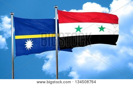 Nauru flag with Syria flag, 3D rendering