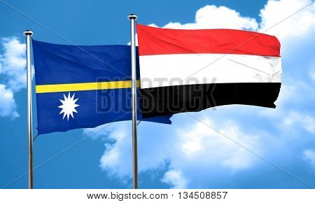 Nauru flag with Yemen flag, 3D rendering