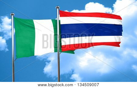 Nigeria flag with Thailand flag, 3D rendering